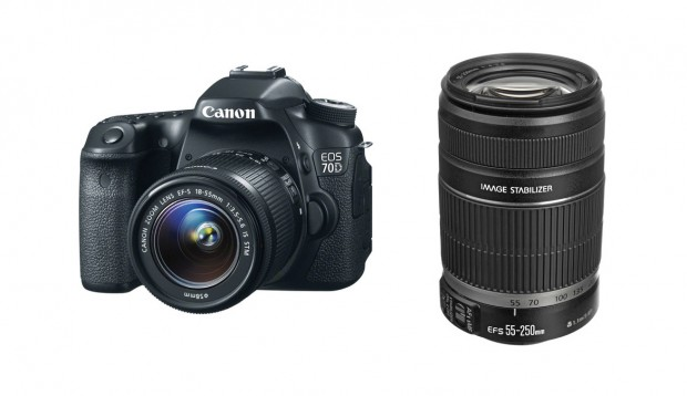 Canon 70D w/ 18-55mm + 55-250mm for $1,283 !
