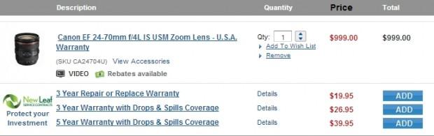 <del>Hot Deal &#8211; EF 24-70mm f/4L IS USM for $799 !</del>