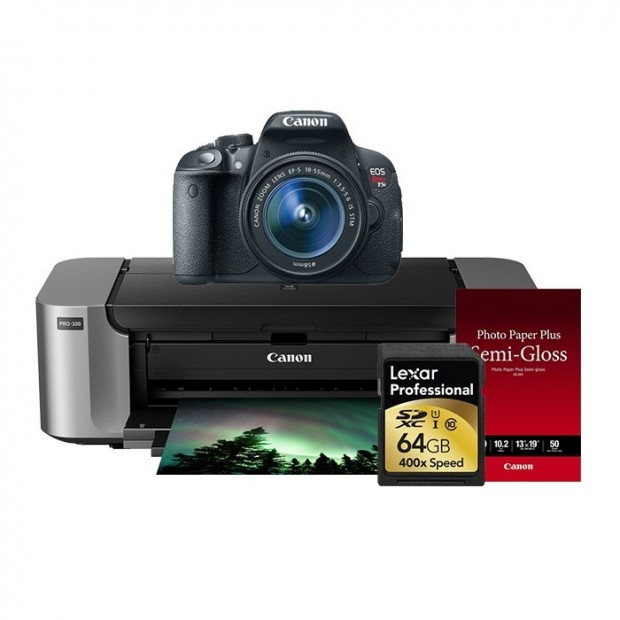 <span style='color:#dd3333;'>Hot Deal &#8211; Canon T5i w/ 18-55mm Lens + Pro 100 Printer + Photo Paper + Lexar Card for $649 !</span>