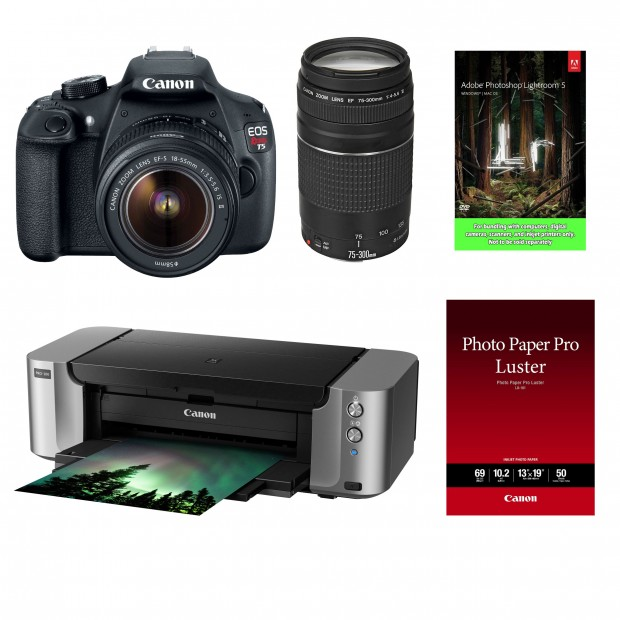 Hot Deal – Rebel T5 w/ 18-55 & 75-300 Lenses + Pixma Printer + LR5 – $399 !