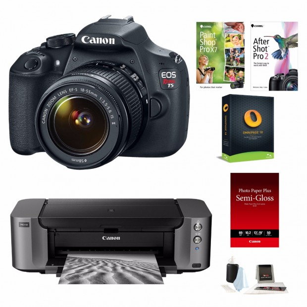 Hot Deal – Canon Rebel T5 w/ 18-55mm Lens + PIXMA PRO-10 Printer for $499 !