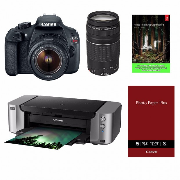 <span style='color:#dd3333;'>Hot Deal &#8211; Canon T5 + 18-55 + 75-300 + Pro-100 Printer + LR5 for $399 !</span>