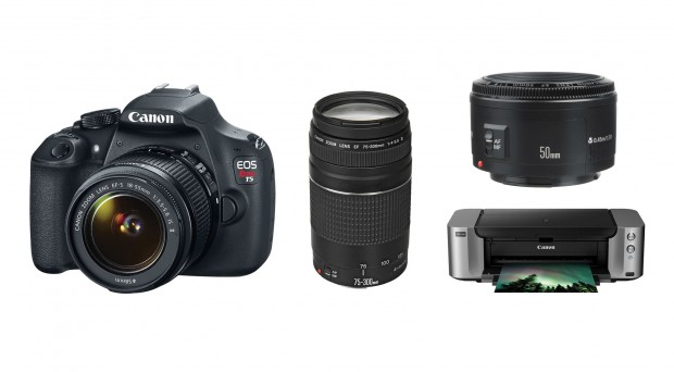 Hot Deal – Canon T5 w/ 18-55, 75-300, 50 f/1.8 II Lenses + Pro-100 Printer & More for $449 !