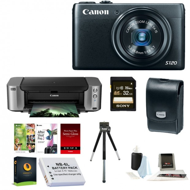 Hot Deal – Canon PowerShot S120  + Pro-100 Printer + Accessory Kit for $266 !