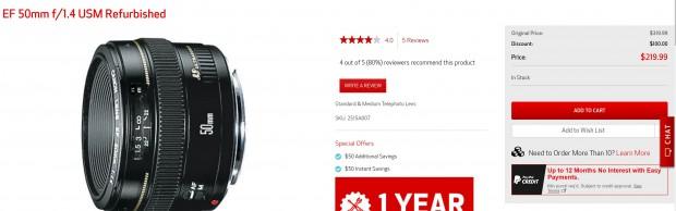 ef 50mm f 1.4 USM lens