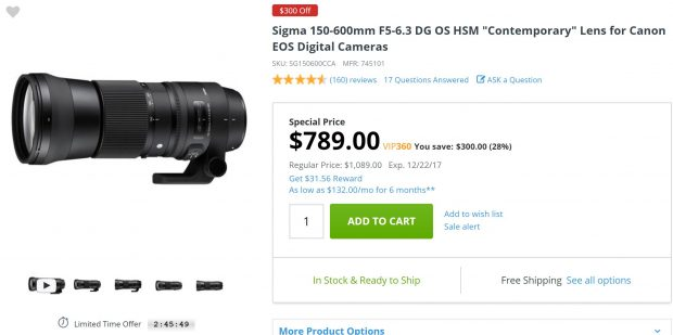 Today Only – Sigma 150-600mm f/5-6.3 DG OS HSM Contemporary Lens for $789 at Adorama !