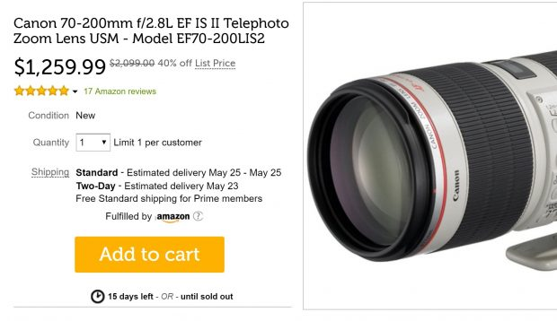 Super Hot – EF 70-200mm f/2.8L IS II USM Lens for $1,259 at Woot !