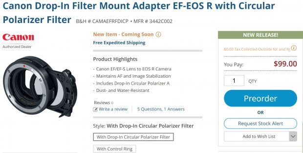 Super Hot – Price Mistake ! Mount Adapter EF-EOS R w/ Circular Polarizer Filter for $99 (REG: $299)