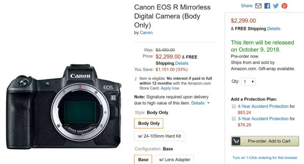 Canon EOS R Already Available for Pre-order at Amazon US !