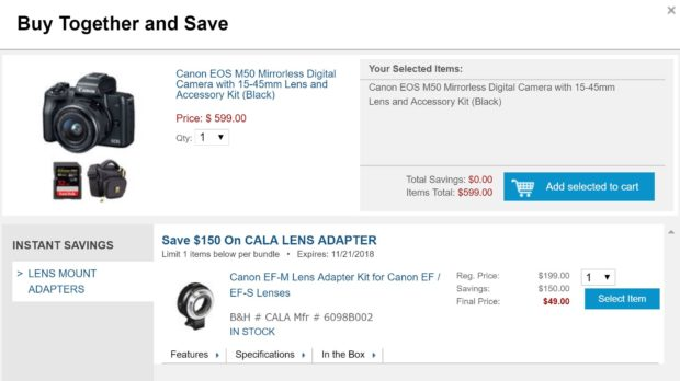 Hot Deal – EOS M50 w/ 15-45mm Lens + EF-M Lens Adapter +SD Card + Bag for $599 at B&H Photo !