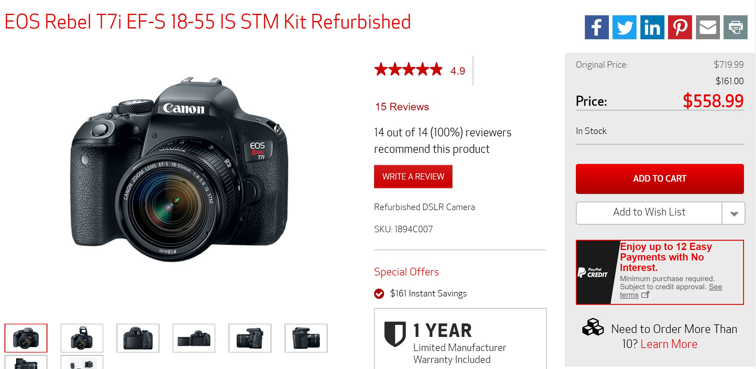Hot Deal – Refurbished Canon EOS Rebel T7i w/ 18-55mm Lens for $559 !