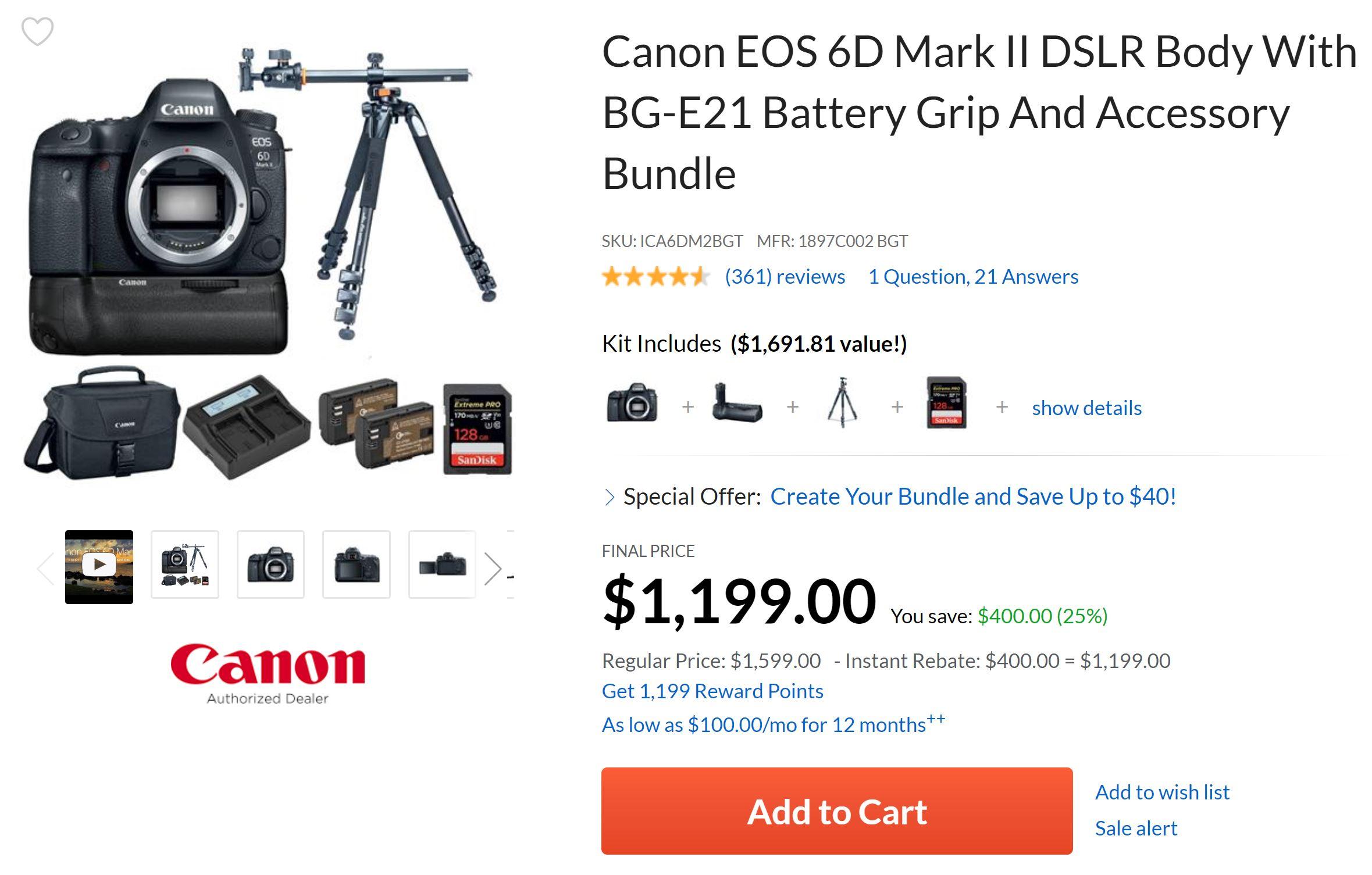 Hot Deal – Canon 6D Mark II w/ BG-E21 + Tripod + 128GB SDXC + More for $1,199 at Adorama !