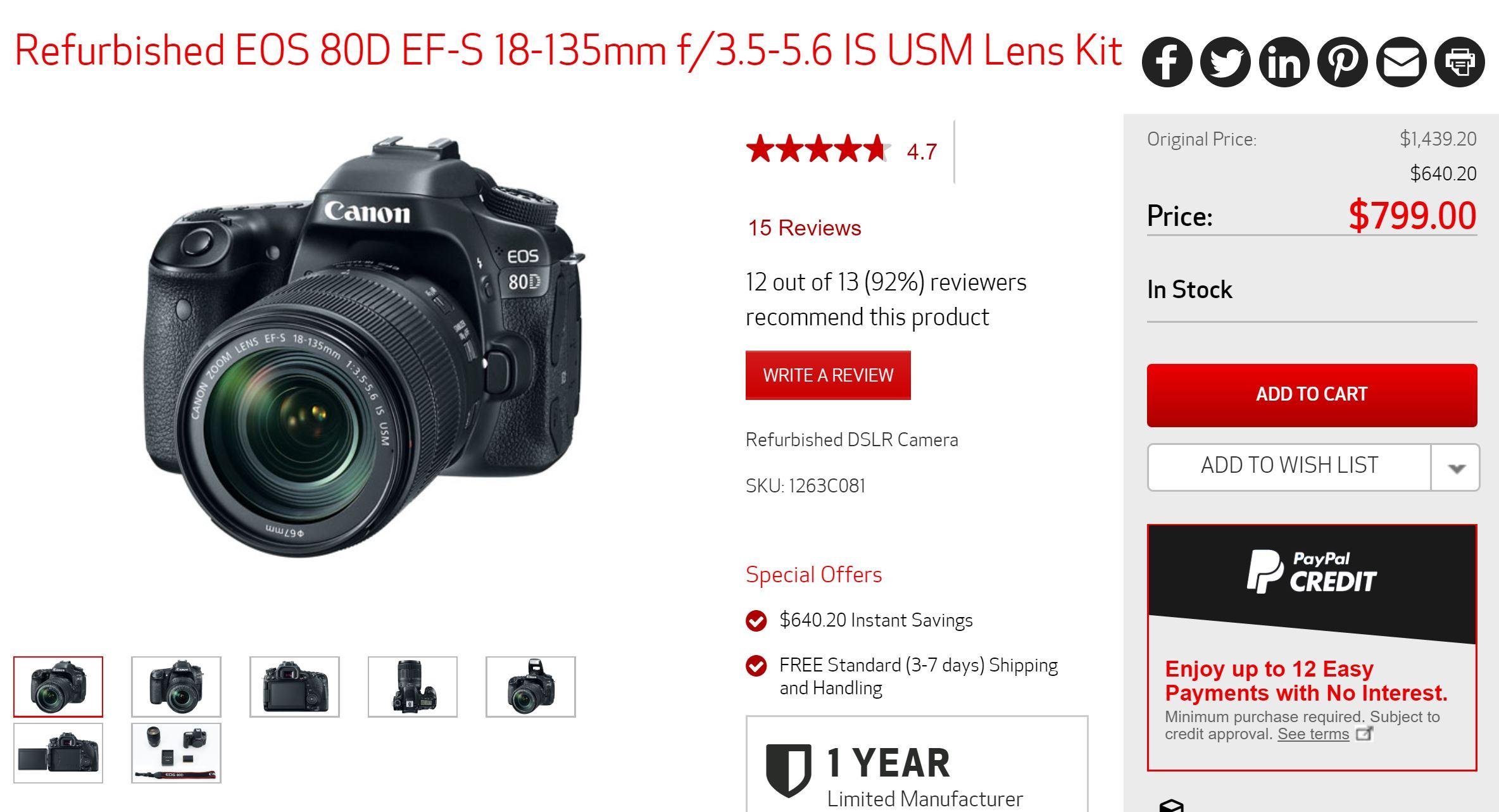 Super Hot ! Refurbished EOS 80D w/ 18-135mm Lens for $799 !