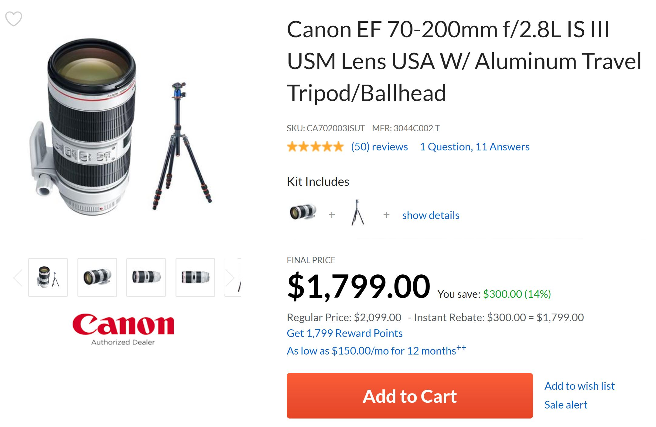 Hot Deal –  EF 70-200mm f/2.8L IS III USM Lens for $1,799 w/ Free Aluminum Travel Tripod/Ballhead !