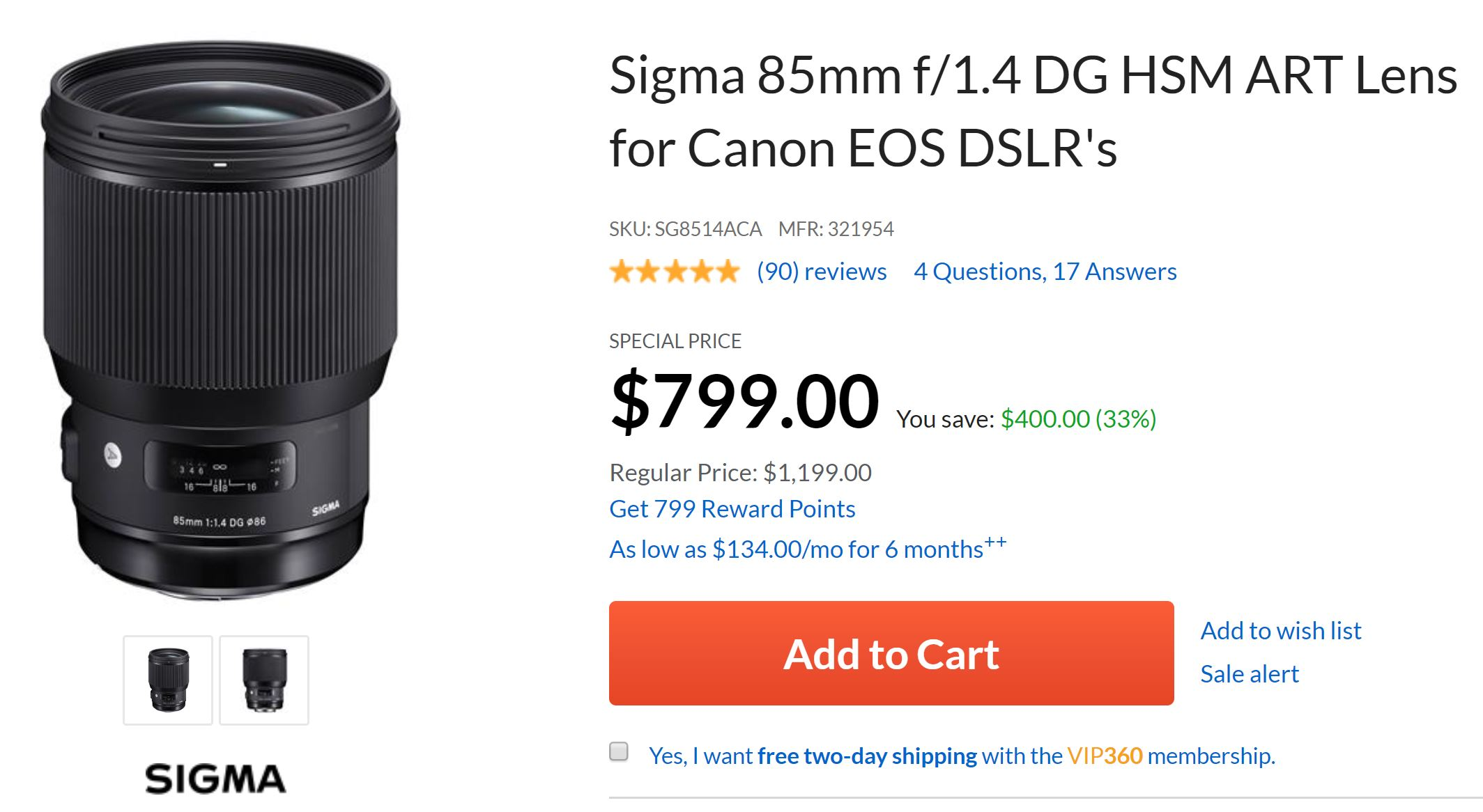 Super Hot ! Sigma 85mm f/1.4 Art for $799, 150-600mm f/5-6.3 C for $649 at Adorama !