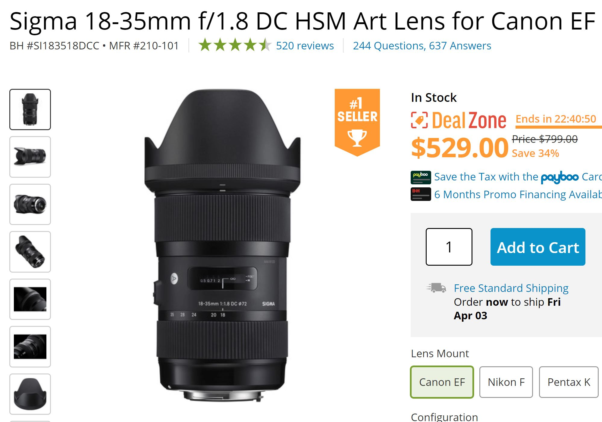 Today Only – Sigma 18-35mm f/1.8 DC HSM Art Lens for $529 at B&H !