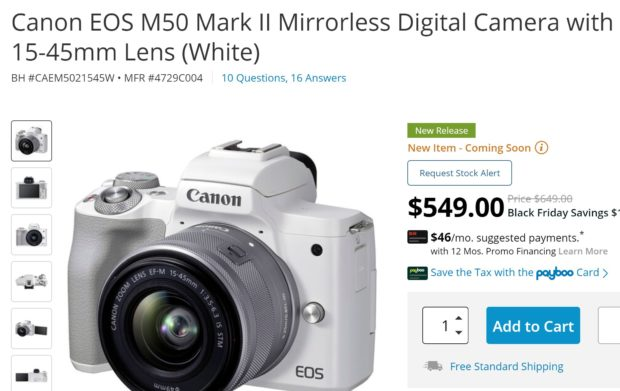 Price Mistake ? Canon EOS M50 Mark II w/ 15-45mm Lens for $549 !